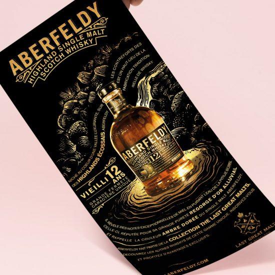 Leaflet Aberfeldy, whisky du groupe Moët Hennessy, par la graphiste Jessica Larrieu
